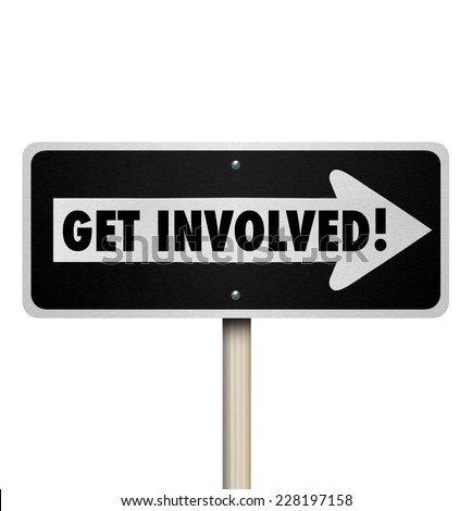 Get Involved words on a one way road sign pointing the way to involvement, engagement, and working together with the group or organization for a common goal - stock photo