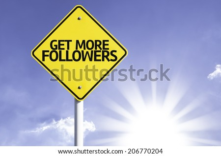 Get More Followers road sign with sun background - stock photo