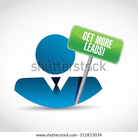 Get More Leads avatar sign illustration design graphic - stock photo