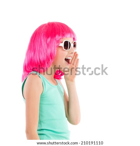Get ready for a party! Close up of a shouting little girl in pink wig and sunglasses. Waist up studio shot isolated on white. - stock photo