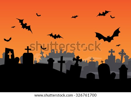 Get ready for Halloween. Spooky cemetery full of old grave with lot of crosses everywhere... Guarded by bats - stock photo