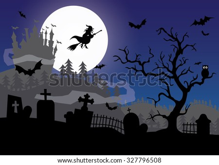 Get ready for Halloween. Spooky cemetery full of old grave with lot of crosses everywhere.Get ready for Halloween. Spooky cemetery full of old grave with lot of crosses everywhere.Guarded by bats - stock photo
