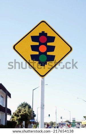 Get ready to stop yellow diamond traffic light sign used in New Zealand  - stock photo