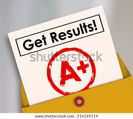 Get Results and letter grade A+ on a report card as good positive outcome of studying, homework and determination to succeed - stock photo