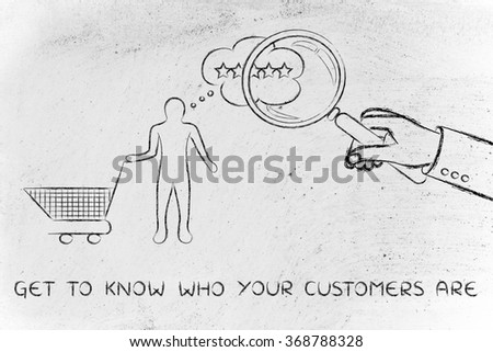 get to know who your customers are: giant hand with magnifying glass analysing thoughts - stock photo