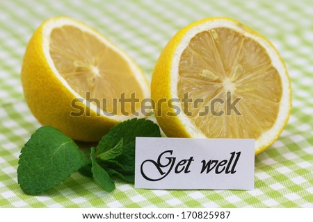Get well card with lemon halves and mint leaves
