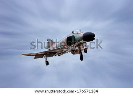 GETAFE, SPAIN - MAY 9: The McDonnell Douglas F-4 Phantom II is long-range supersonic jet interceptor fighter/bomber originally developed for the United States Navy, on May 9, 2009, in Getafe, Spain  - stock photo