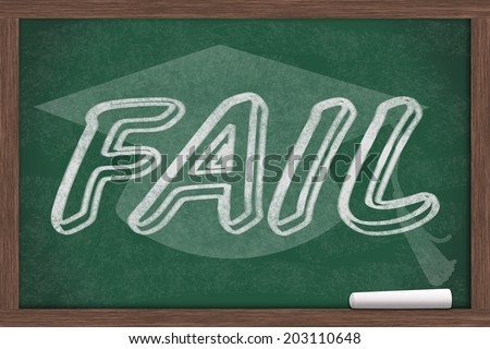 Getting a bad grade, Fail written on a chalkboard with chalk and a grad cap - stock photo