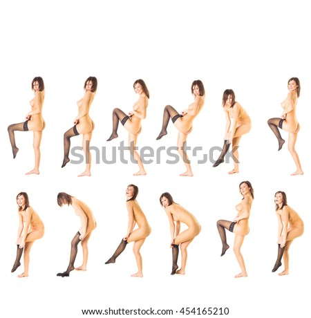 Getting Completely Naked Female Beauty  - stock photo