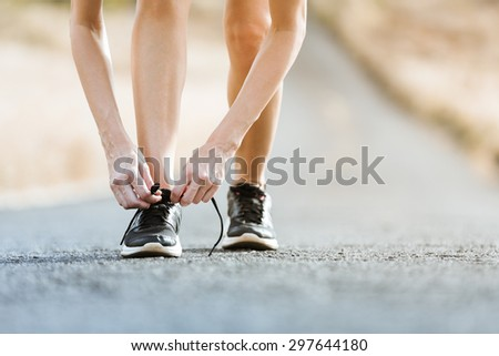 Getting ready for a run.  - stock photo