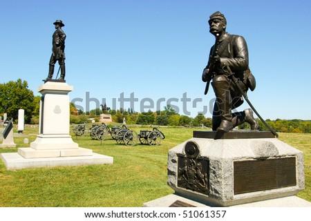 Gettysburg Battlefield monuments - stock photo