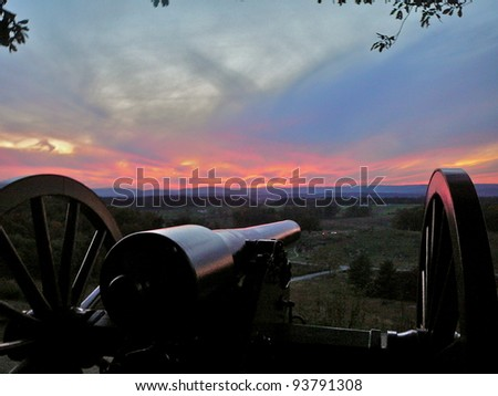 Gettysburg: Cannon on Little Round Top at sunset - stock photo