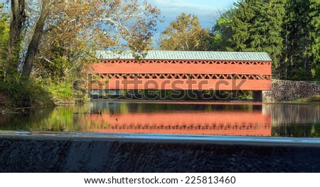 GETTYSBURG, PA - OCT 18: Sachs Covered Bridge as seen in the Fall on Oct 18, 2014 in Gettysburg, Pennsylvania. - stock photo