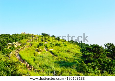 Geumjeongsanseong Forest Fortress, where there is a 18.8km long wall of rock which used as a defense, Busan, South Korea - stock photo