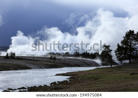 Geyser at Yellowstone national park, USA - stock photo