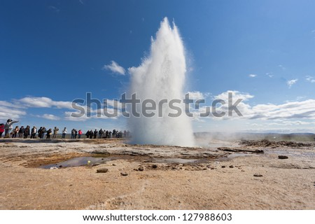 Geyser blow in Iceland while blowing water