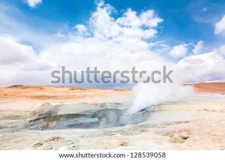 Geyser field Sol de Manana, Bolivia - stock photo