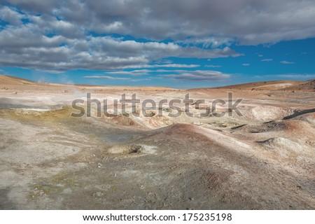 Geyser (geothermal area) Sol de Manana in Eduardo Avaroa National Reserve - Bolivia, South America - stock photo