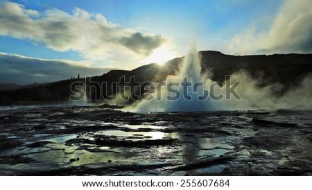 Geyser  in Iceland - stock photo