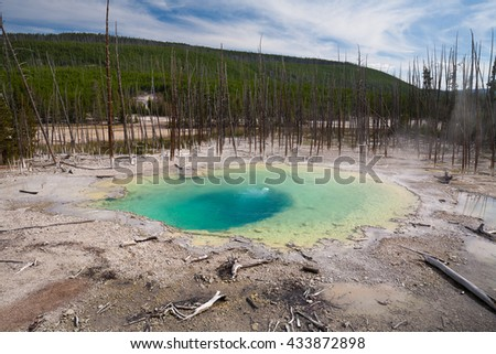 Geyser in Norris Geyser Basin in Yellowstone National Park USA - stock photo