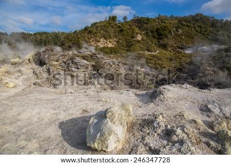 Geyser in Rotorua, New Zealand. - stock photo