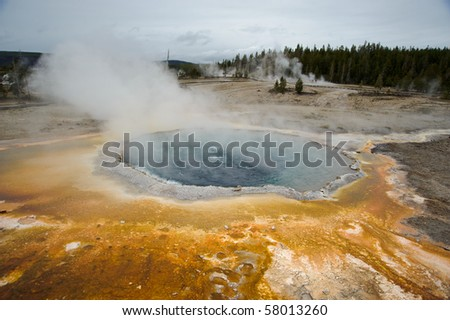 Geyser in Yellowstone with yellow bacteria