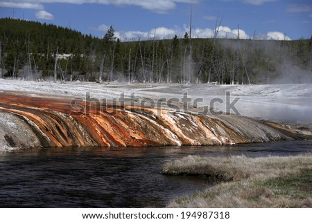 Geyser with algae and bacterial layers, Yellowstone national Park, USA - stock photo