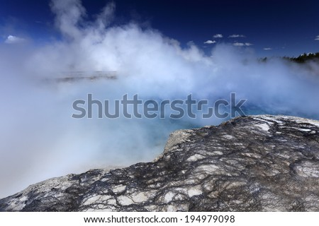 Geyser with lovely surroundings at Yellowstone national park, USA
