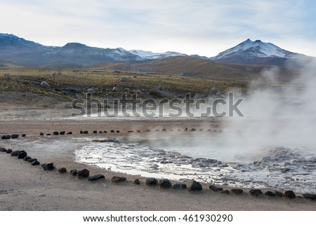 Geysers at El Tatio, located in the Chilean Andes at over 14,000 ft. (4,230 meters) in elevation. El Tatio is the largest geyser field in the southern hemisphere and the third largest in the world.
