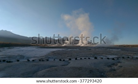Geysers erupting into the sky