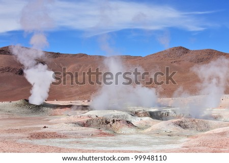 Geysers Sol de Manana in Eduardo Avaroa National Reserve of Andean Fauna, South-western Bolivia - stock photo