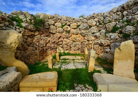 Ggantia megalithic site island Gozo one of oldest - stock photo