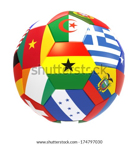 Ghana - 3D render of soccer football with flags on white background - stock photo