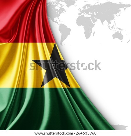 Ghana flag and world map background - stock photo