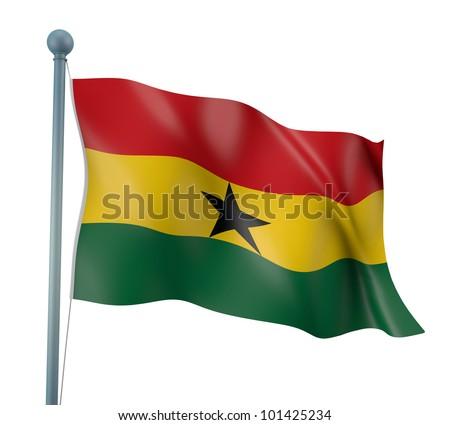 Ghana Flag Detail Render - stock photo