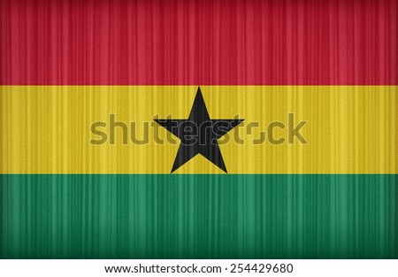 Ghana flag pattern on the fabric curtain,vintage style - stock photo