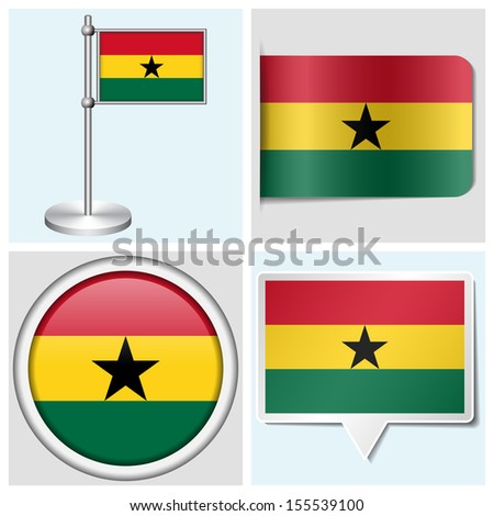 Ghana flag set of various sticker button label and flagstaff