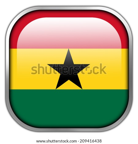 Ghana Flag square glossy button - stock photo