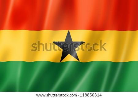 Ghana flag, three dimensional render, satin texture - stock photo