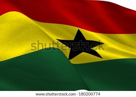 Ghana flag waving - stock photo