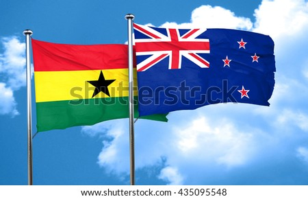 Ghana flag with New Zealand flag, 3D rendering