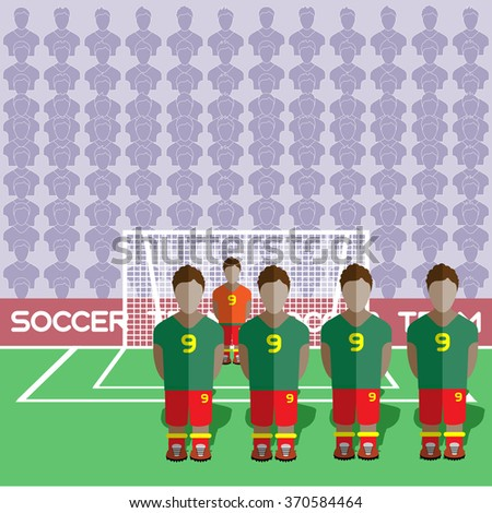 Ghana Football Club Soccer Players Silhouettes. Computer game Soccer team players big set. Sports infographic. Football Teams in Flat Style. Goalkeeper Standing in a Goal. Raster illustration. - stock photo