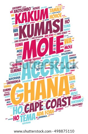 Ghana map silhouette word cloud with most popular travel destinations