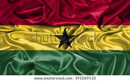 Ghana silk flag - stock photo