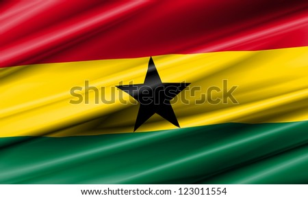 Ghana Waving Flag - stock photo