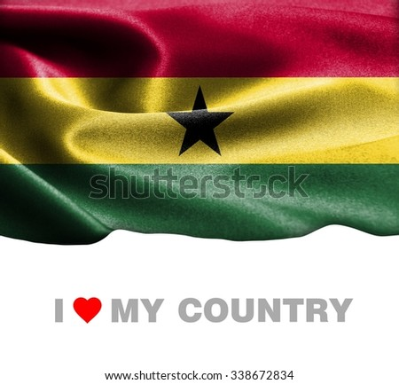 Ghana waving flag with Text I Love My Country - stock photo