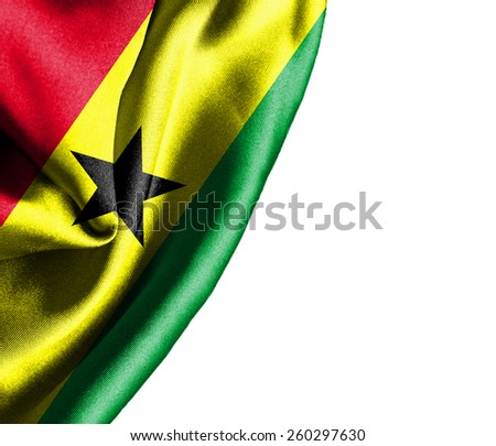 Ghana waving silky flag isolated on white background - stock photo