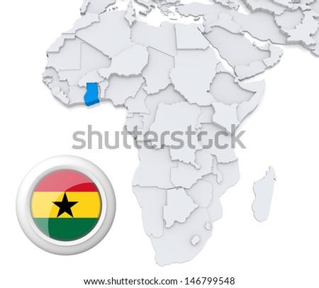 Ghana with national flag - stock photo