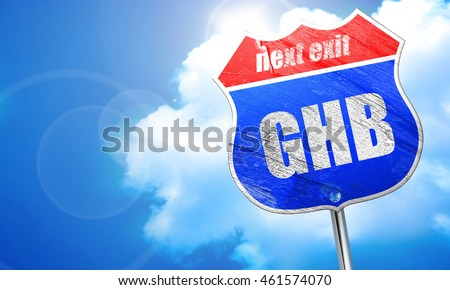 ghb, 3D rendering, blue street sign