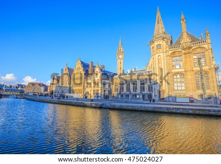 GHENT, BELGIUM - APRIL 17: The Graslei, Ghent's old city center scenic place on April 17, 2016 in Graslei street.